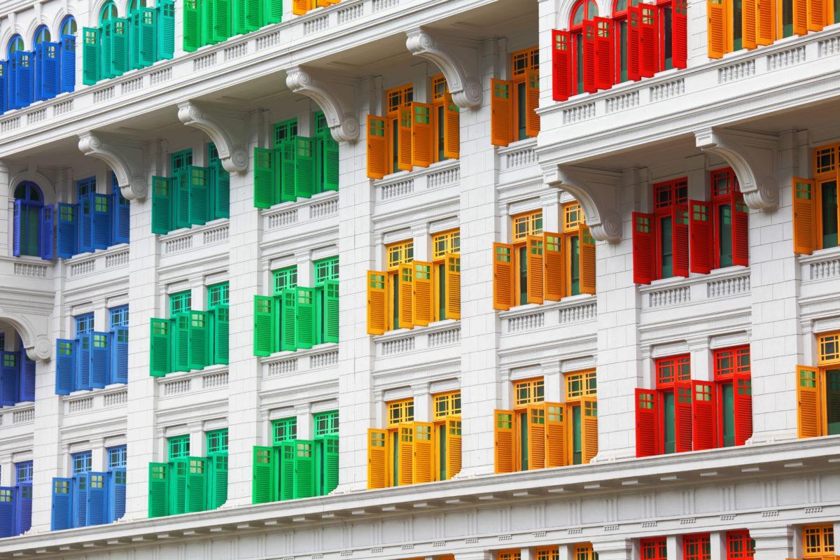 maqueta de casas de colores